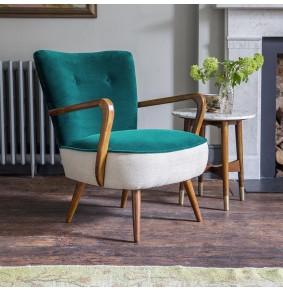 Calvin Armchair in Teal Velvet and Linen