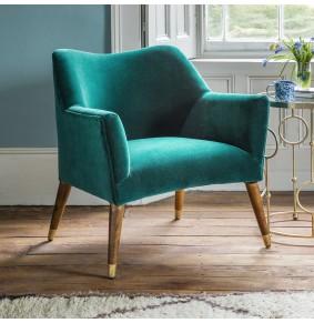Astoria Armchair in Teal Velvet