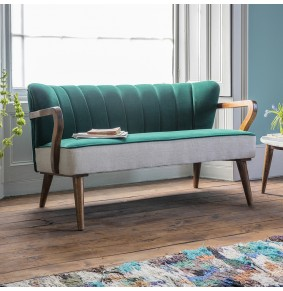 Tallulah 2 Seater Sofa in Teal Velvet and Linen