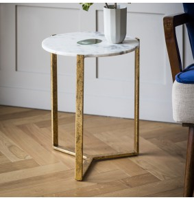 White Marble and Green Agate Side Table