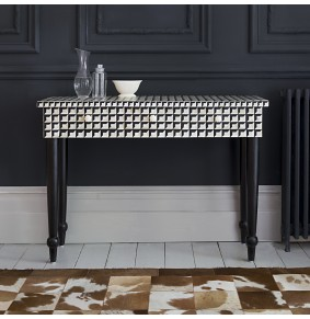 Cuboid Geometric Bone Inlay Console Table