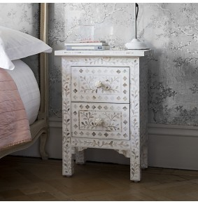 Mother of Pearl Inlay Bedside Chest of Drawers in White - ETA end Jan