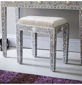 Classic Mother of Pearl Inlay Stool in Grey - ETA end Jan