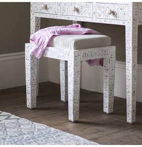 Classic Mother of Pearl Inlay Stool in White