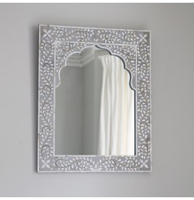 Kasbah Mother of Pearl Wall Mirror in Grey