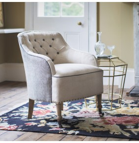 Florence Button Back Linen Armchair