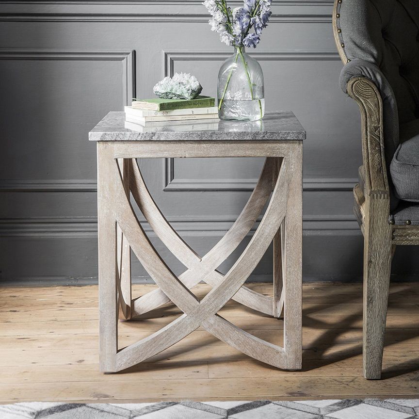 low cost ed550 6068f Lily Side Table with with a Grey Marble Top