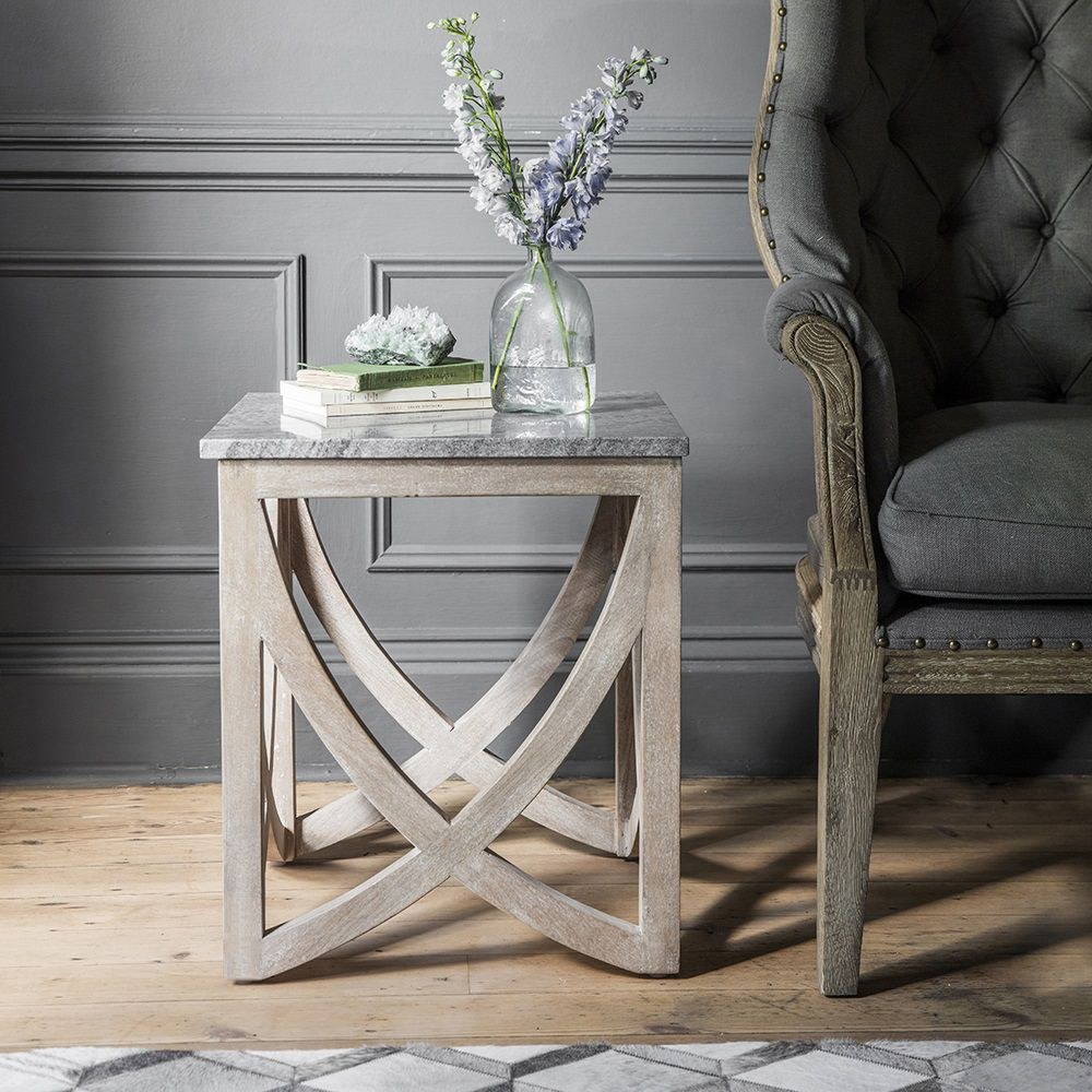 Lily Side Table With A Marble Natural Stone Top Atkin