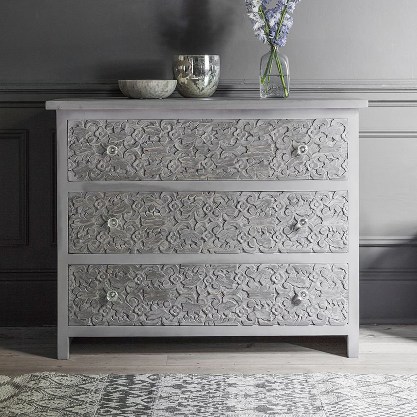 Chest Of Drawers.Atika Grey Carved Chest Of Drawers