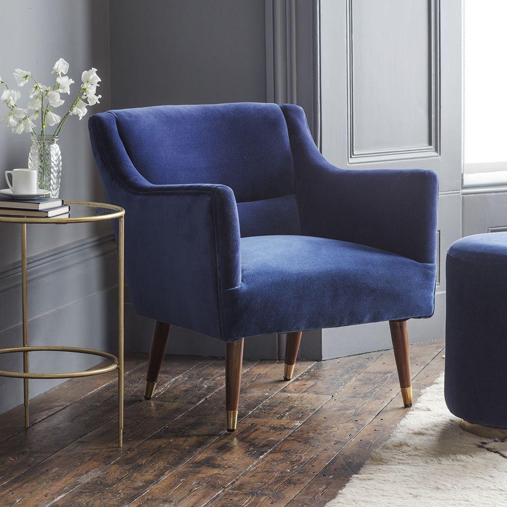 Superbe Alresford Armchair In Blue Velvet. Tap To Expand