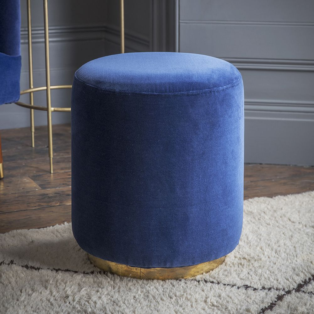 Carnaby Foot Stool In Navy Velvet Atkin And Thyme
