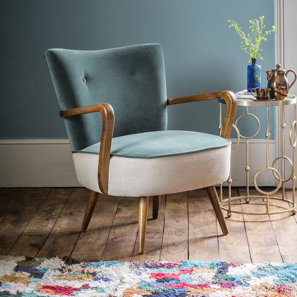 Calvin Chair In Green Velvet And Natural Linen Atkin And