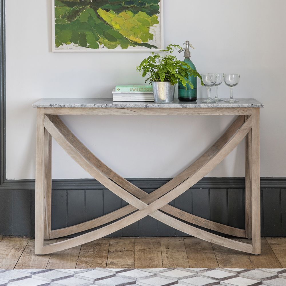new product 2c1d9 c0482 Lily Console Table with a Grey Marble Top