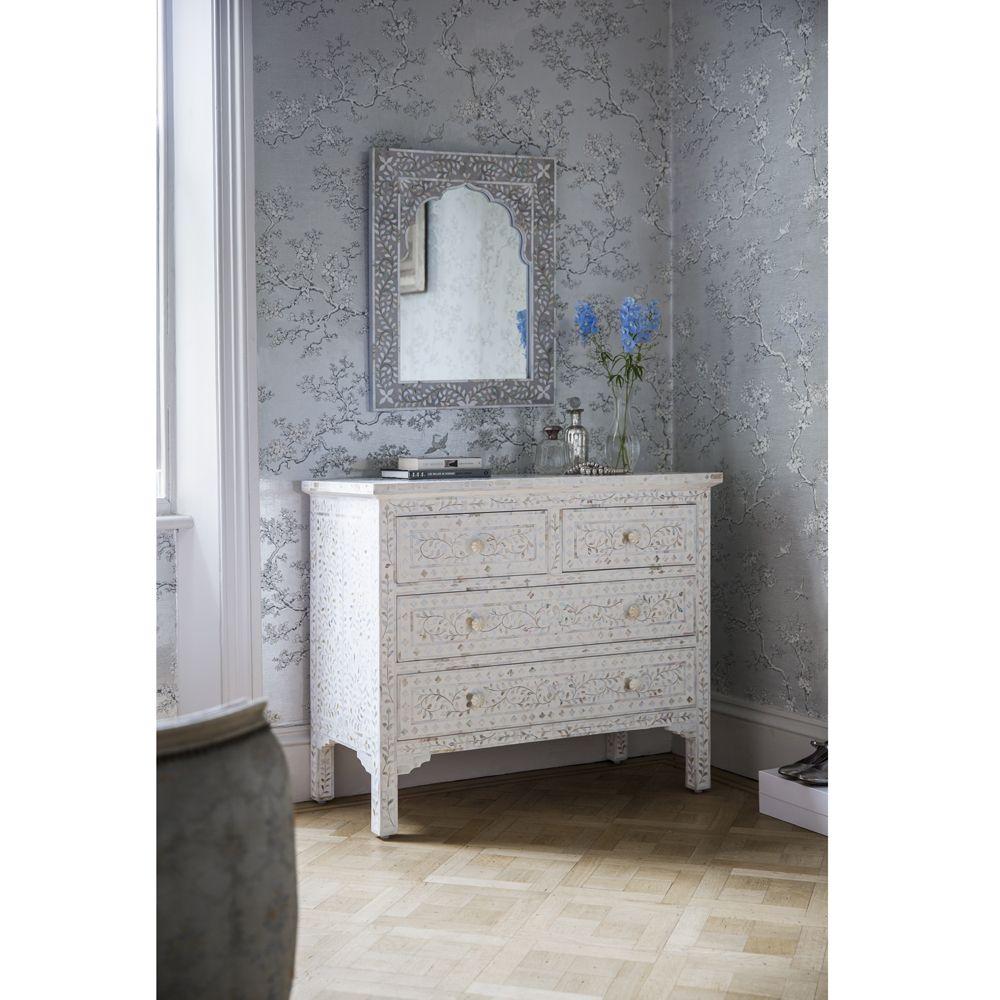 Kasbah Mother Of Pearl Wall Mirror In Steeple Grey Atkin