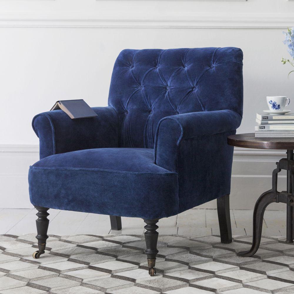 Merveilleux Pimlico Blue Velvet Armchair