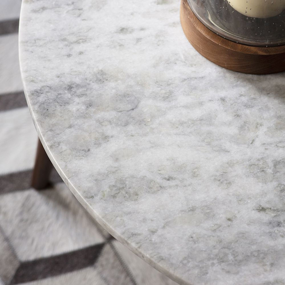 Stellar White Marble Coffee Table: Deco White Marble Coffee Table