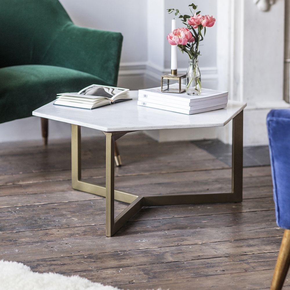 Gold And White Marble Coffee Table.Aldwych Marble Coffee Table Gold