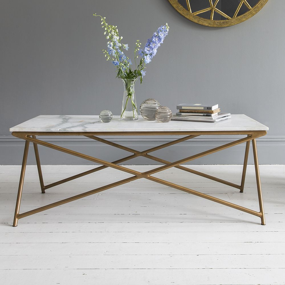 Klein Marble Coffee Table: Stellar White Marble Coffee Table