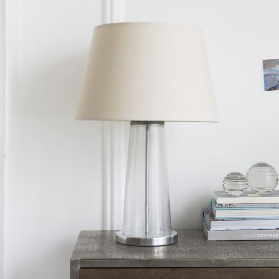 Kensington Glass Table Lamp in Silver With Linen Shade