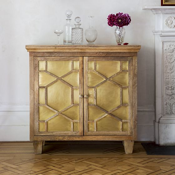 Amber Art Deco Sideboard With Brass Inlay