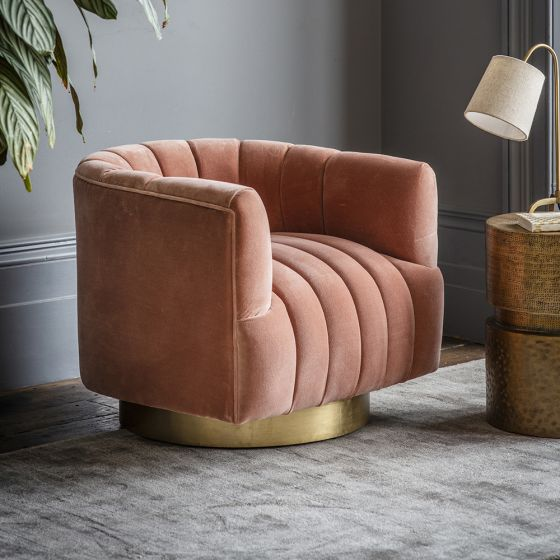 Bellagio Armchair in Champagne Pink Velvet