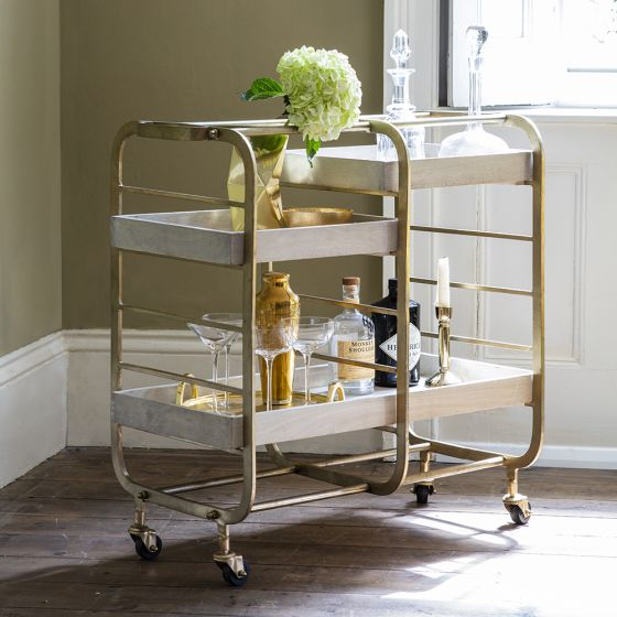 Bistro Bar Trolley - Whitewash