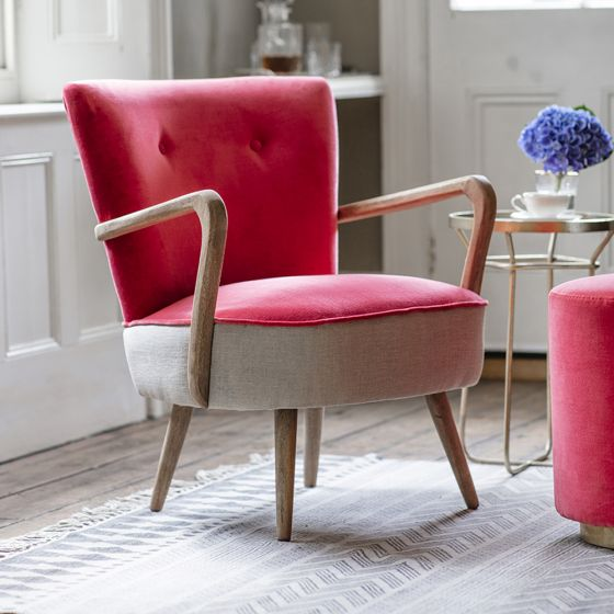 Calvin Armchair in Coral Velvet and Linen