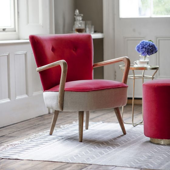 Calvin Armchair in Coral Velvet and Linen