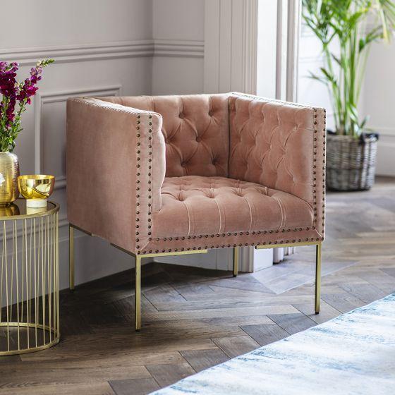 Lyon Pink Velvet Armchair
