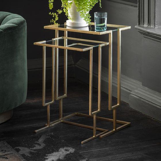 Blake Nesting Tables - Antique Brass