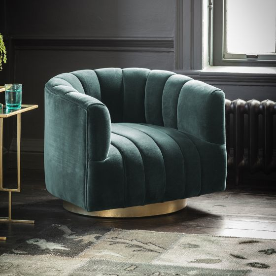 Bellagio Armchair in Petrol Green Velvet