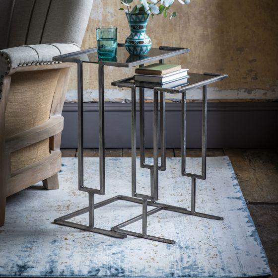 Blake Nesting Tables - Grey Nickel