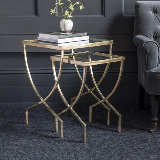 Wishbone Glass Top Nesting Side Tables
