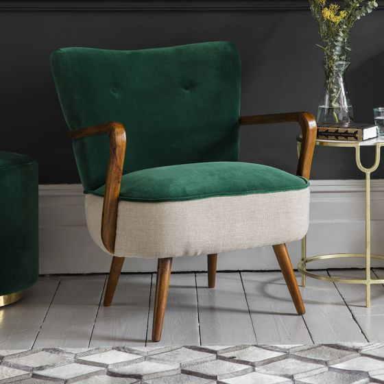 Calvin Armchair in Emerald Green Velvet and Linen