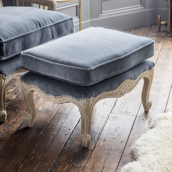Amélie Footstool in Grey Velvet