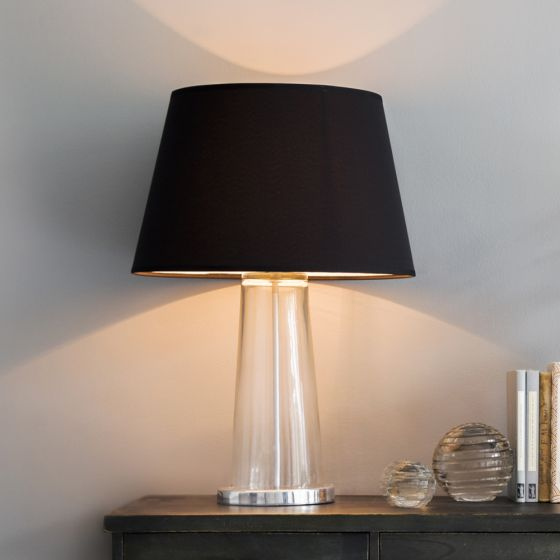 Kensington Glass Table Lamp in SIlver With Black Shade