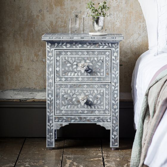 Mother of Pearl Inlay Bedside Chest of Drawers in Grey