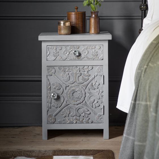 Atika Grey Carved Bedside Cabinet