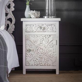 Atika White Carved Bedside Cabinet