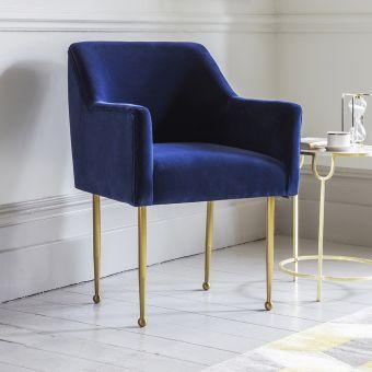 Cleo Blue Velvet Armchair