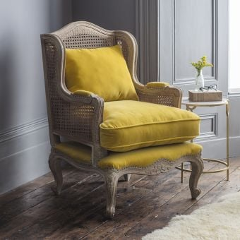 Amélie Cane Armchair in Mustard Velvet