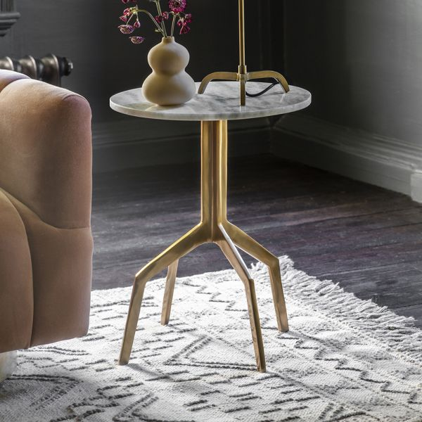 Zenith Side Table in White Marble