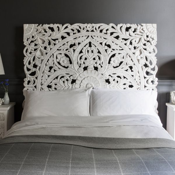 Atika White Carved Headboard