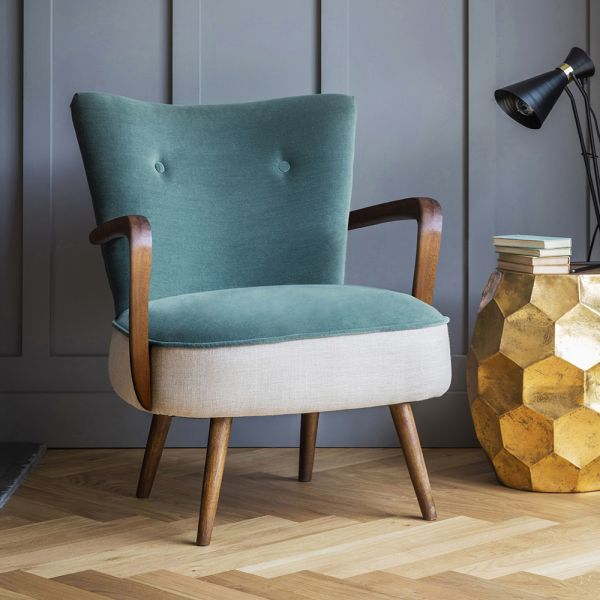 Calvin Armchair in Green Velvet and Linen