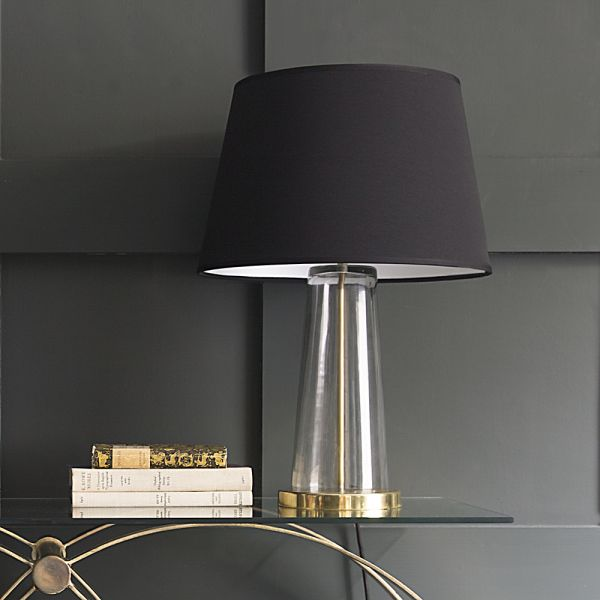 Kensington Glass Table Lamp in Brass With Black Shade