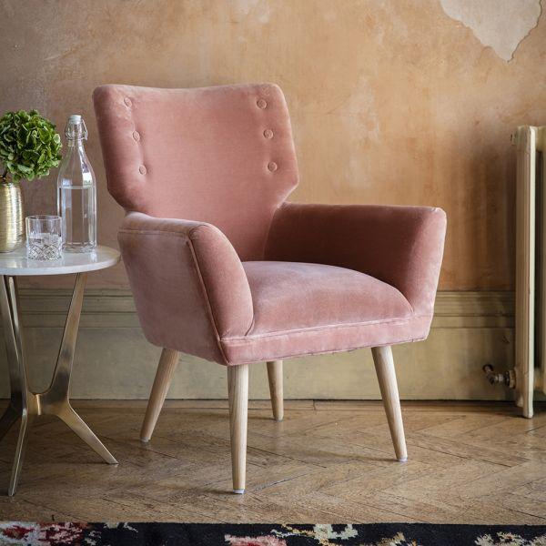 Jeffrey Armchair in Champagne Pink Velvet