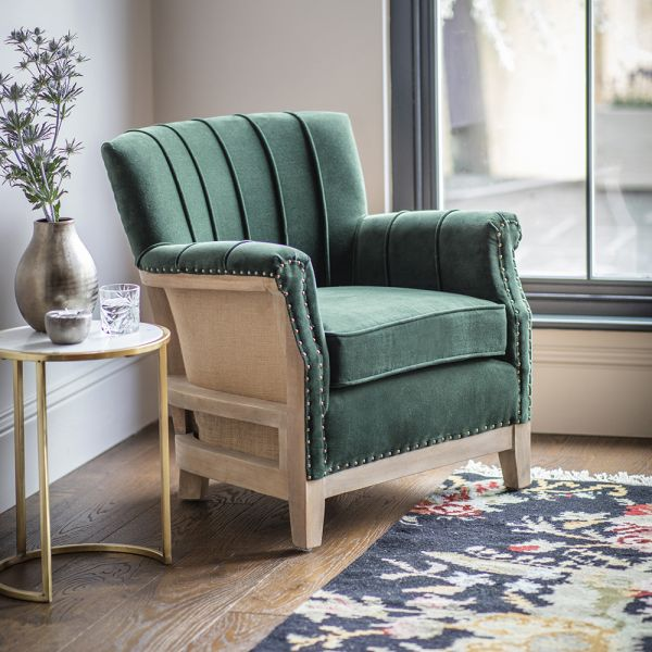 Fitzgerald Armchair in Green Velvet