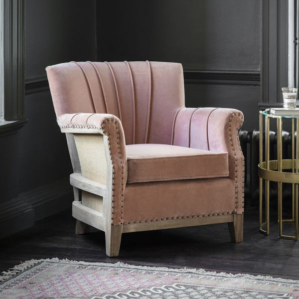 Fitzgerald Armchair in Champagne Pink Velvet
