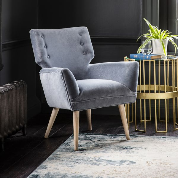 Jeffrey Armchair in Grey Velvet