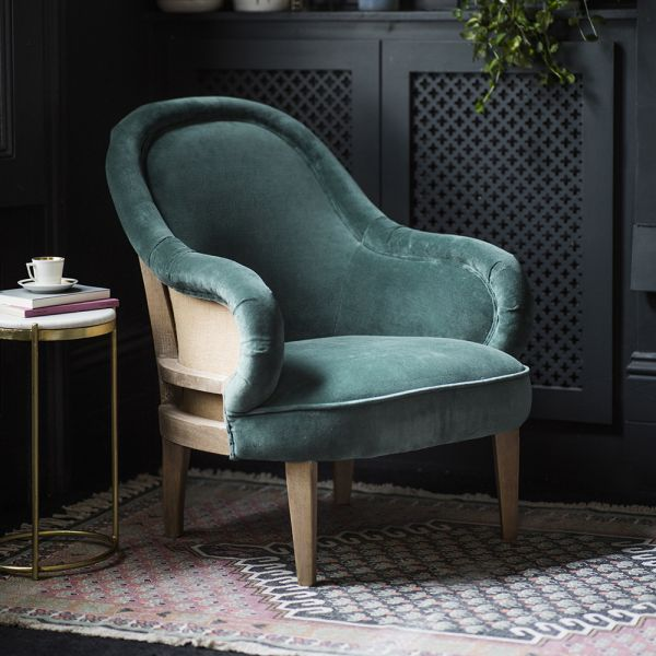 Grayson Armchair in Green Velvet